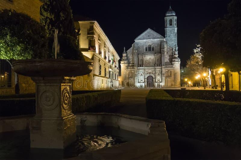 Παρεκκλησι Ελ Σαλβαδόρ Savior τη νύχτα, Ubeda, Jae'n, Ισπανία στοκ φωτογραφία