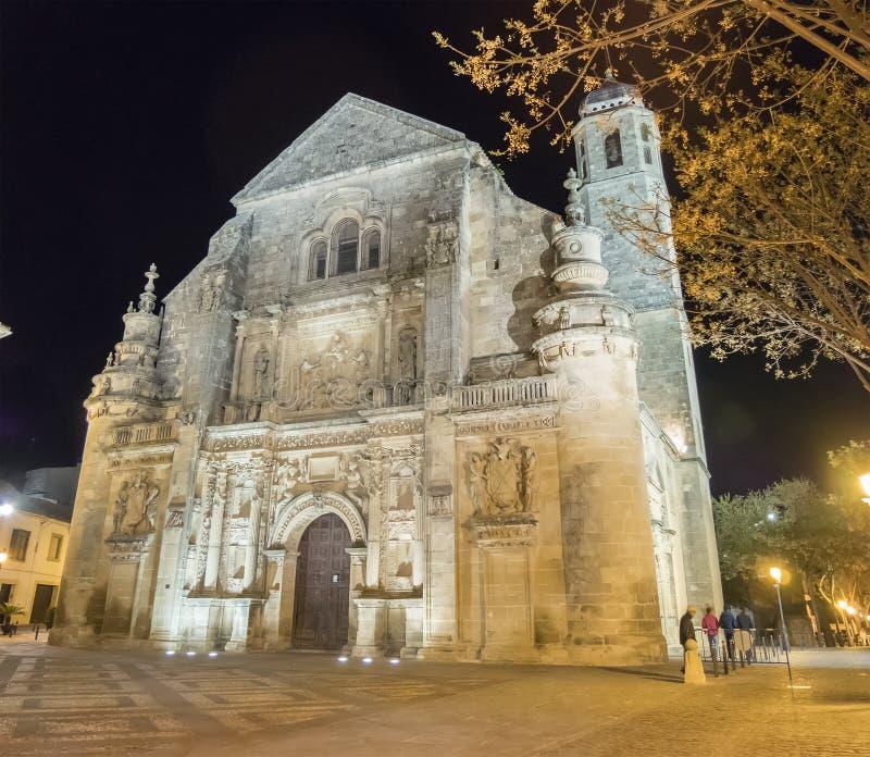 Παρεκκλησι Ελ Σαλβαδόρ Savior τη νύχτα, Ubeda, Jae'n, Ισπανία στοκ φωτογραφία με δικαίωμα ελεύθερης χρήσης