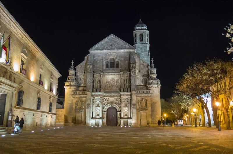 Παρεκκλησι Ελ Σαλβαδόρ Savior τη νύχτα, Ubeda, Jae'n, Ισπανία στοκ φωτογραφίες