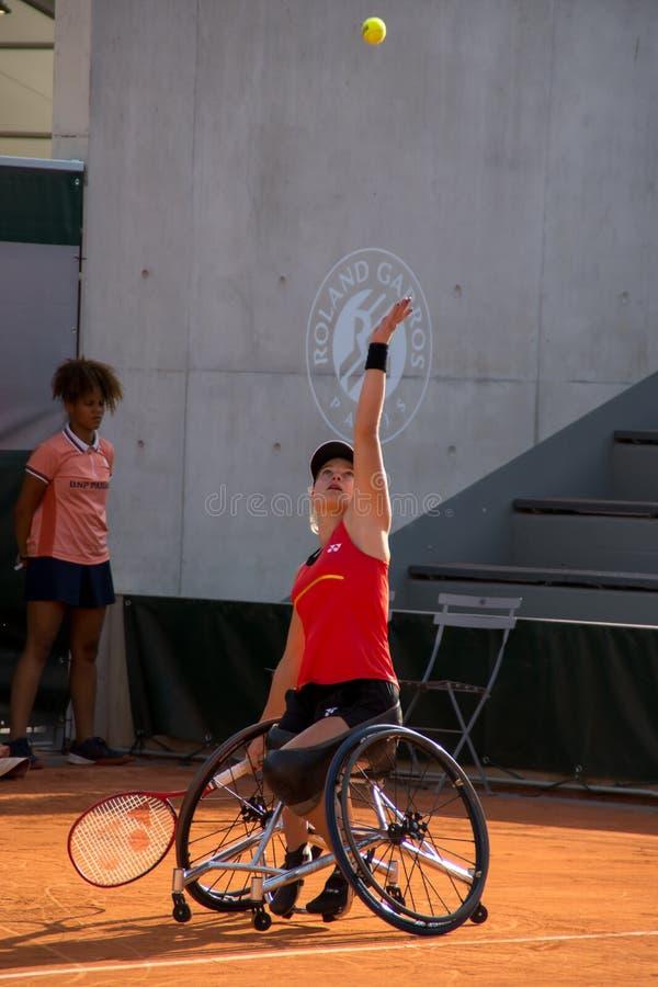 ΠΑΡΙΣΙ, ΓΑΛΛΙΑ - 8 ΙΟΥΝΊΟΥ 2019: Ρόδα διπλασίων γυναικών του Roland Garros στοκ εικόνες με δικαίωμα ελεύθερης χρήσης