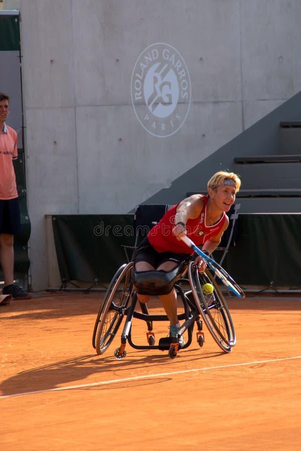 ΠΑΡΙΣΙ, ΓΑΛΛΙΑ - 8 ΙΟΥΝΊΟΥ 2019: Ρόδα διπλασίων γυναικών του Roland Garros στοκ φωτογραφία