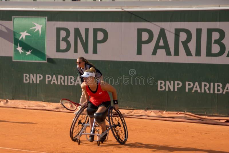 ΠΑΡΙΣΙ, ΓΑΛΛΙΑ - 8 ΙΟΥΝΊΟΥ 2019: Ρόδα διπλασίων γυναικών του Roland Garros στοκ φωτογραφία με δικαίωμα ελεύθερης χρήσης