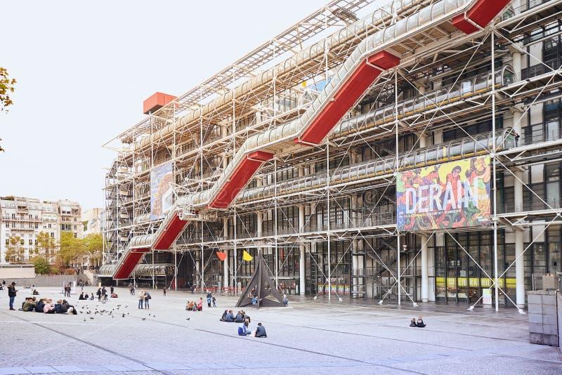 ΠΑΡΙΣΙ, ΓΑΛΛΙΑ - 24 Οκτωβρίου 2017: Πρόσοψη του κέντρου Georges Pompidou - μουσείο σύγχρονης τέχνης, αρχιτεκτονική υψηλής τεχνολο στοκ φωτογραφία με δικαίωμα ελεύθερης χρήσης