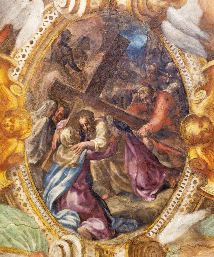 ΠΑΡΜΑ, ΙΤΑΛΙΑ - 17 ΑΠΡΙΛΊΟΥ 2018: Η νωπογραφία Ιησούς με το σταυρό συναντά τη μητέρα του στο degli Angeli Di Σάντα Μαρία Chiesa ε στοκ φωτογραφία με δικαίωμα ελεύθερης χρήσης