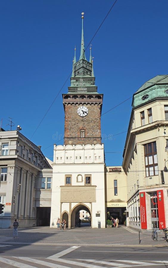 Παρντουμπίτσε, Τσεχία Ο πράσινος πύργος ένα από τα σύμβολα της πόλης στοκ εικόνα