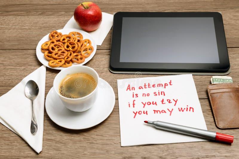 Παροιμία μηνυμάτων γραφής πετσετών στοκ φωτογραφία με δικαίωμα ελεύθερης χρήσης
