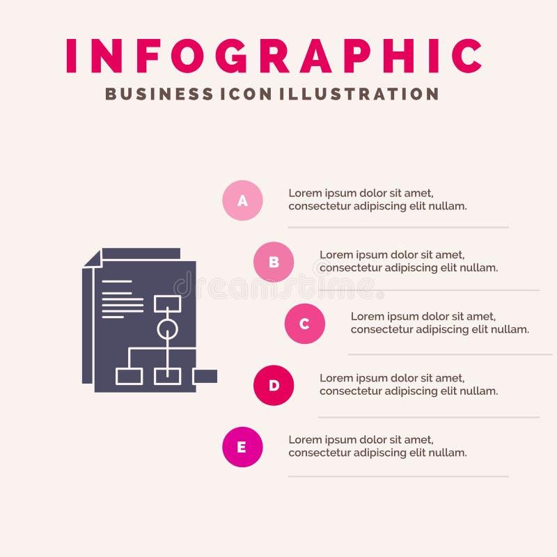 Παρουσίαση, γραφική παράσταση, τιμολόγιο, στερεό εικονίδιο Infographics 5 εκθέσεων υπόβαθρο παρουσίασης βημάτων διανυσματική απεικόνιση
