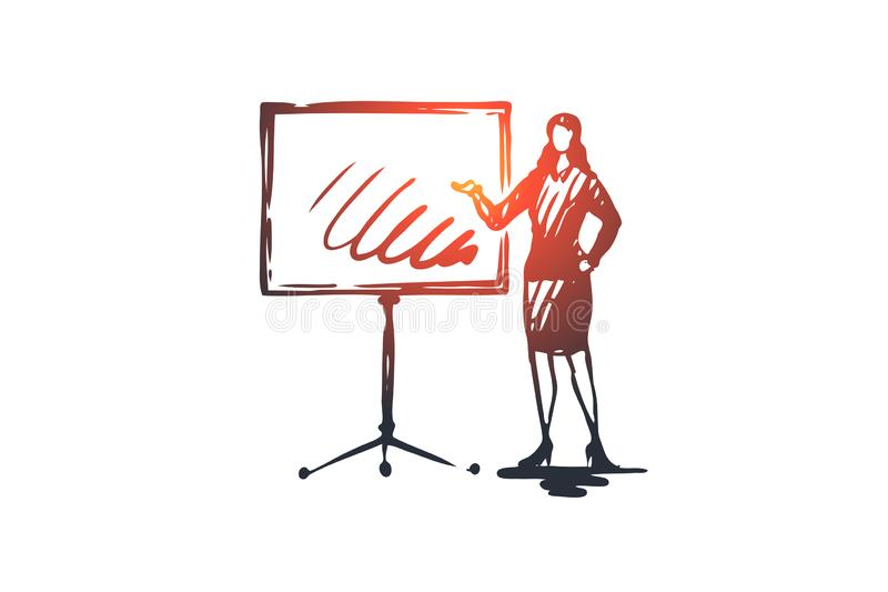 Παρουσίαση, γυναίκα, πίνακας, γραφικός, έννοια εργασίας Συρμένο χέρι απομονωμένο διάνυσμα διανυσματική απεικόνιση