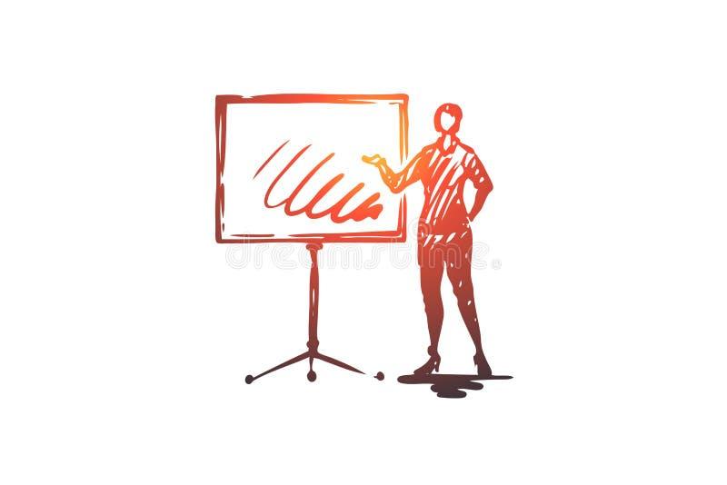 Παρουσίαση, γυναίκα, πίνακας, επιχείρηση, έννοια εκθέσεων Συρμένο χέρι απομονωμένο διάνυσμα απεικόνιση αποθεμάτων