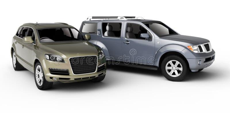 Παρουσίαση δύο αυτοκινήτων. απεικόνιση αποθεμάτων