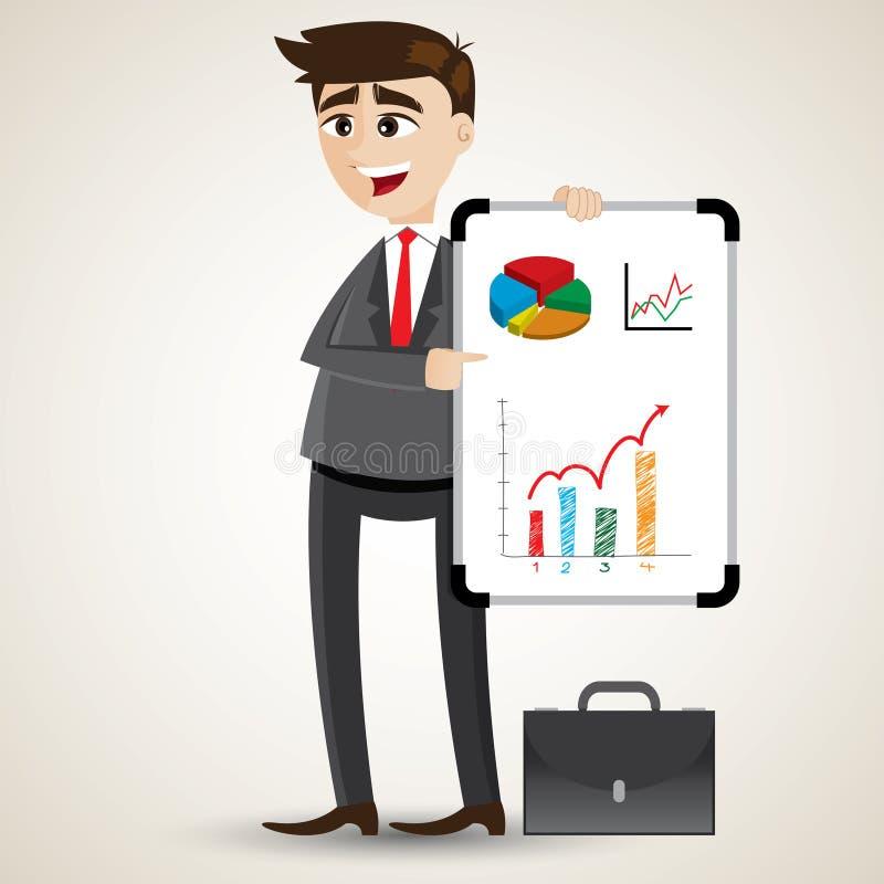 Παρουσίαση επιχειρηματιών κινούμενων σχεδίων με το λευκό πίνακα διανυσματική απεικόνιση