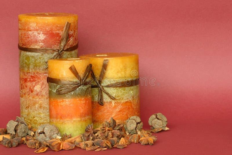 παρουσίαση κεριών φθινοπώρου στοκ εικόνα