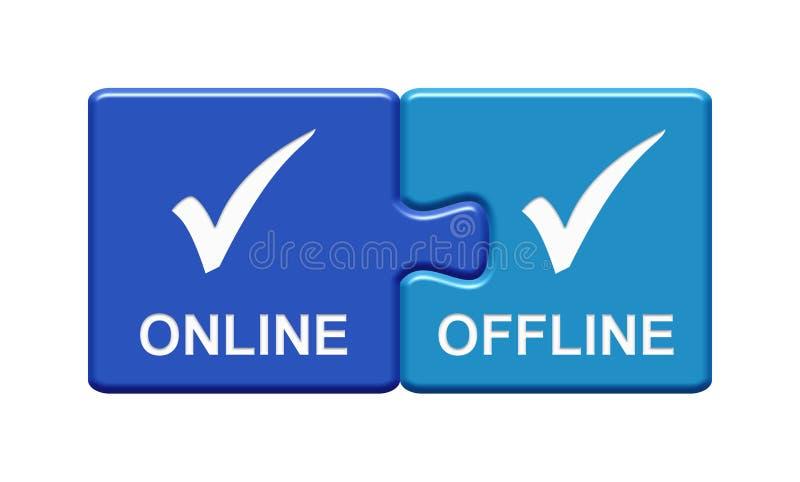 παρουσίαση 2 μπλε κουμπιών γρίφων on-line και off-$l*line απεικόνιση αποθεμάτων