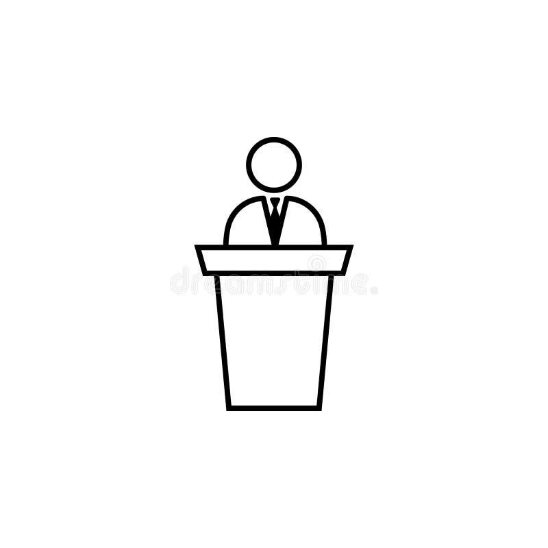 Παρουσίαση, ομιλία, εικονίδιο επιχειρηματιών για το άσπρο υπόβαθρο Μπορέστε να χρησιμοποιηθείτε για τον Ιστό, λογότυπο, κινητό ap διανυσματική απεικόνιση