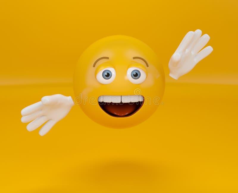 Παρουσίαση του emoji στο πορτοκαλί υπόβαθρο, που χαιρετά emoticon στοκ φωτογραφία με δικαίωμα ελεύθερης χρήσης