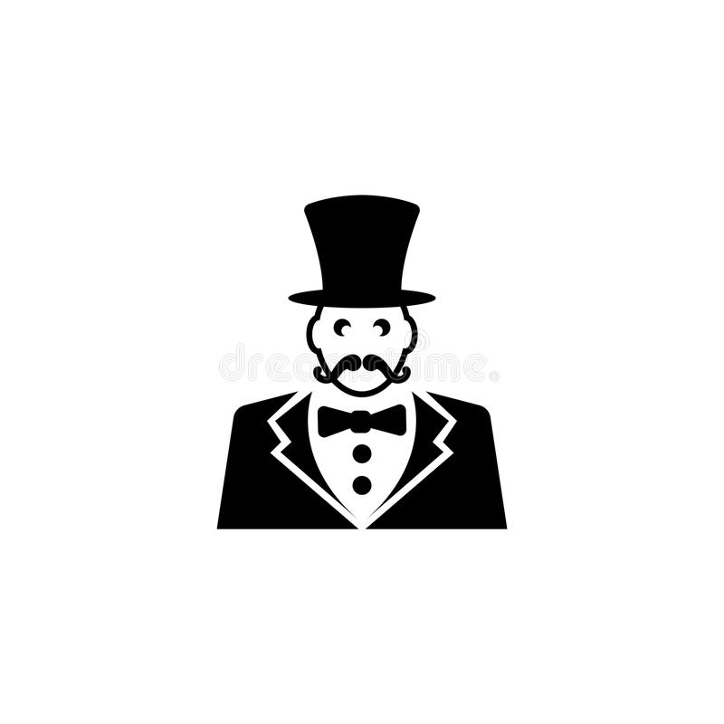 Παρουσηαστής προγράμματος τσίρκου, κύριος τελετής τσίρκων με το επίπεδο διανυσματικό εικονίδιο καπέλων ελεύθερη απεικόνιση δικαιώματος