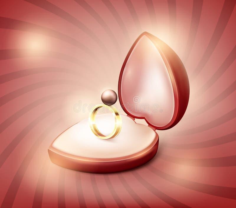 Παρουσιάζει το κιβώτιο καρδιών με ένα γαμήλιο δαχτυλίδι μέσα Γαμήλιο δαχτυλίδι με ένα χρυσό μαργαριτάρι στο κιβώτιο με τις καρδιέ ελεύθερη απεικόνιση δικαιώματος