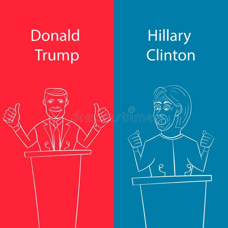 Παρουσιάζοντας δημοκρατικό Ντόναλντ Τραμπ εναντίον του δημοκράτη Χίλαρι Κλίντον πρόσωπο-μακριά για τον αμερικανικό Πρόεδρο με την ελεύθερη απεικόνιση δικαιώματος