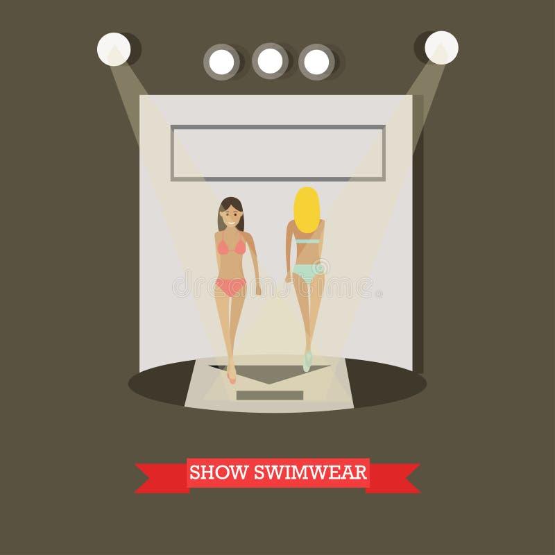 Παρουσιάστε στη swimwear έννοια διανυσματική απεικόνιση στο επίπεδο ύφος ελεύθερη απεικόνιση δικαιώματος