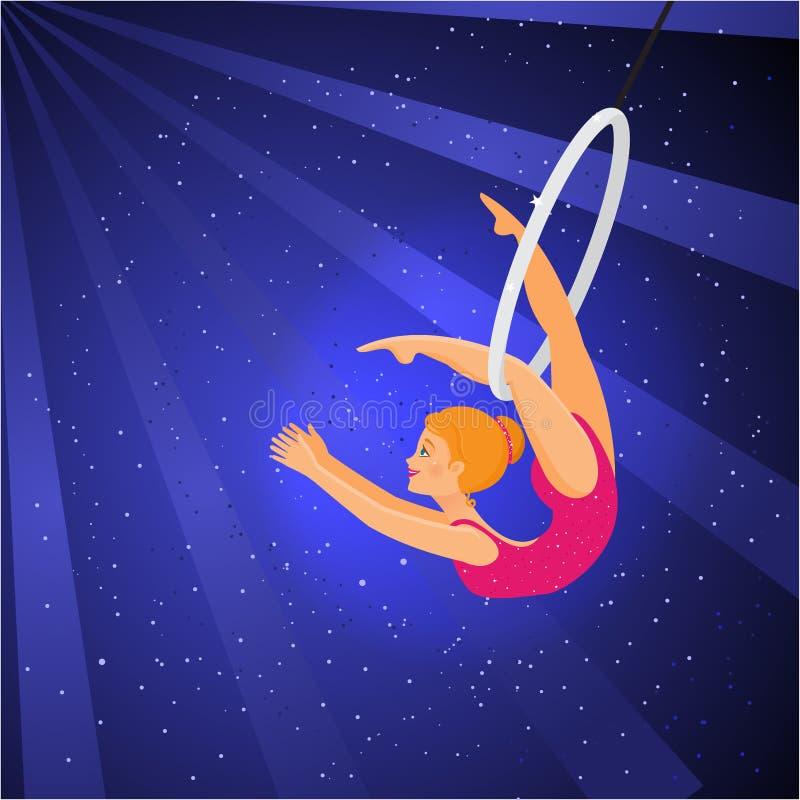 Παρουσιάστε στο τσίρκο Ο ακροβάτης κοριτσιών εκτελεί ένα τέχνασμα στο δαχτυλίδι ελεύθερη απεικόνιση δικαιώματος