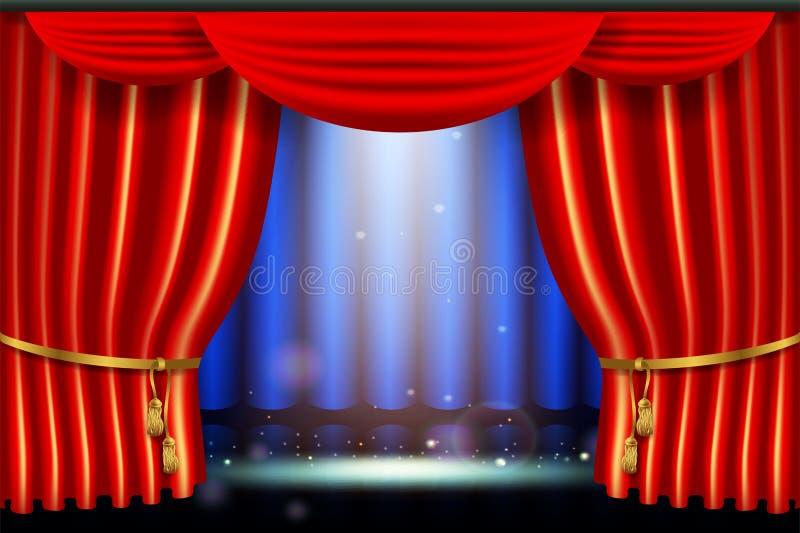 Παρουσιάστε, φωτεινή επίδραση επικέντρων φωτισμού με το ρεαλιστικό κόκκινο curtai διανυσματική απεικόνιση
