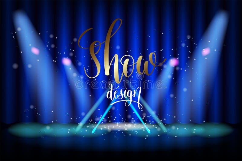 Παρουσιάστε φωτισμό σκηνής σχεδίου στην μπλε κουρτίνα διανυσματική απεικόνιση