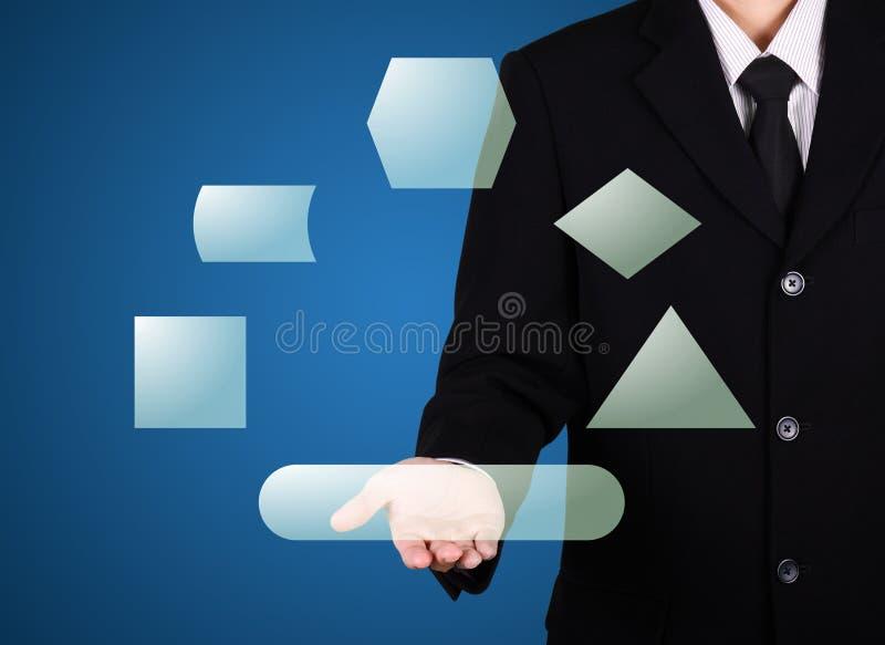 παρούσα στιγμή κουμπιών επιχειρηματιών σε διαθεσιμότητα στοκ εικόνες