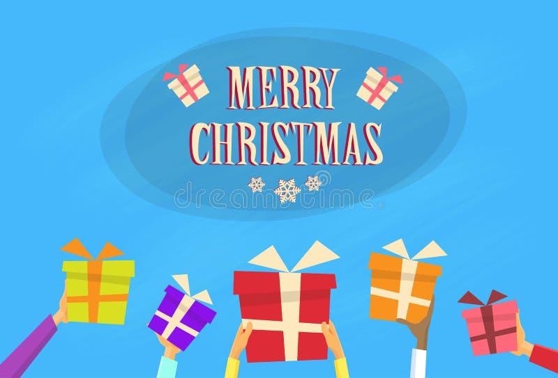 Παρούσα Χαρούμενα Χριστούγεννα καλή χρονιά κιβωτίων δώρων διανυσματική απεικόνιση
