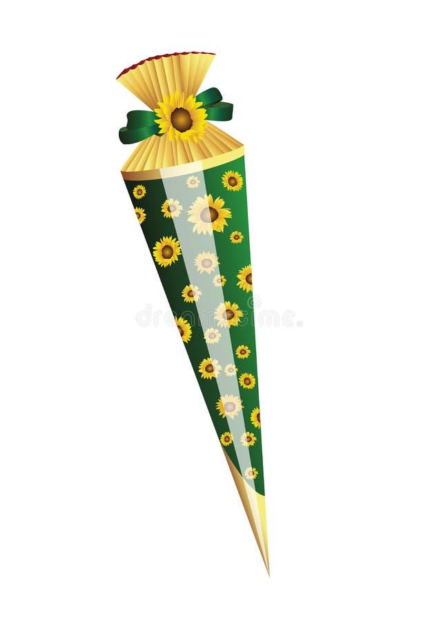 Παρόν για την πρώτη σχολική ημέρα με τα sundflowers απεικόνιση αποθεμάτων