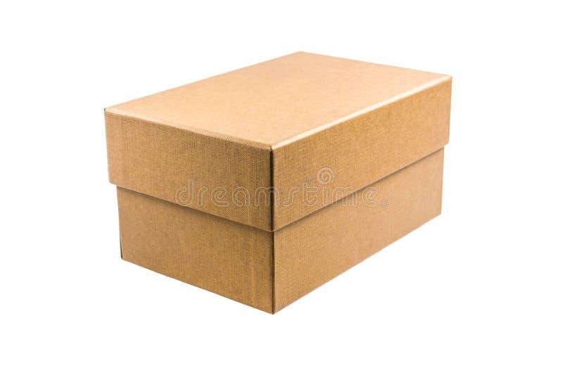 Παρόν κουτί από χαρτόνι που απομονώνεται στο άσπρο υπόβαθρο στοκ εικόνες