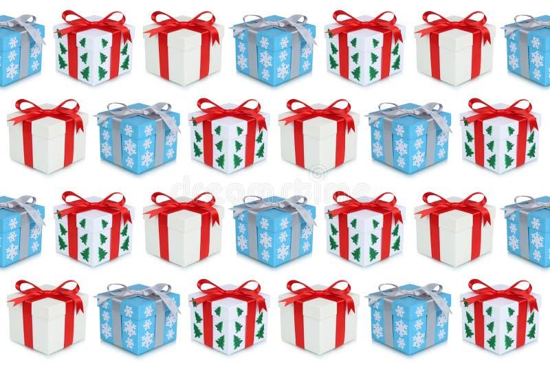 Παρόν υπόβαθρο κιβωτίων δώρων δώρων Χριστουγέννων διανυσματική απεικόνιση