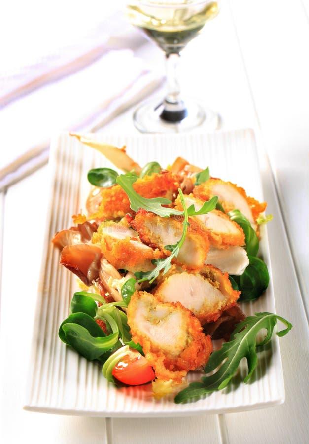 Πασπαλισμένο με ψίχουλα στήθος κοτόπουλου με τα πράσινα σαλάτας στοκ φωτογραφίες με δικαίωμα ελεύθερης χρήσης
