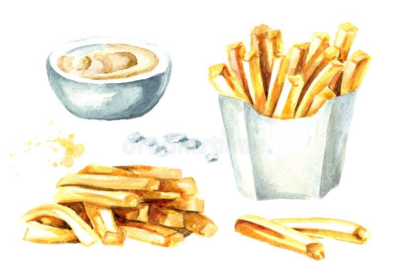 Πατάτα ραβδιών τηγανιτών πατατών με το σύνολο σάλτσας Συρμένη χέρι απεικόνιση Watercolor που απομονώνεται στο άσπρο υπόβαθρο απεικόνιση αποθεμάτων