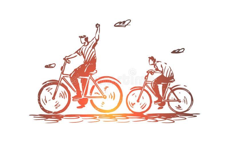 Πατέρας, γιος, ποδήλατο, γύρος, έννοια ανακύκλωσης Συρμένο χέρι απομονωμένο διάνυσμα απεικόνιση αποθεμάτων