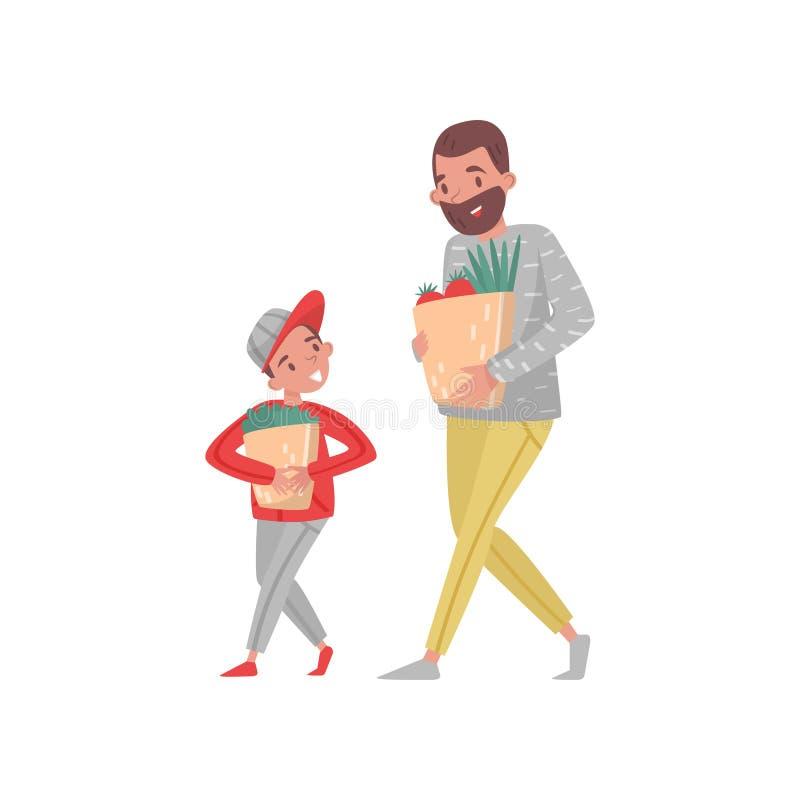 Πατέρας και γιος με τις τσάντες αγορών Γενειοφόρες τσάντες εγγράφου ατόμων και μικρών παιδιών φέρνοντας με τα παντοπωλεία Επίπεδο διανυσματική απεικόνιση