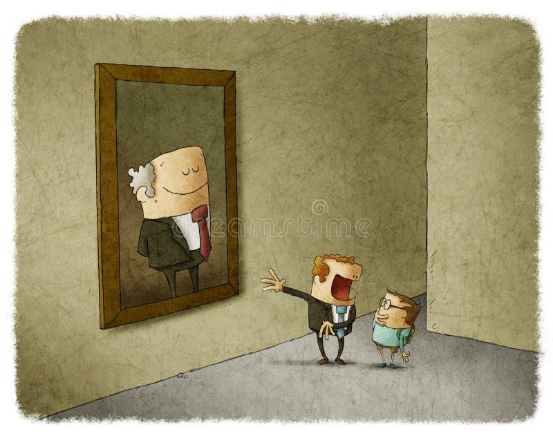 Πατέρας και γιος που θαυμάζουν τον προκάτοχό τους απεικόνιση αποθεμάτων