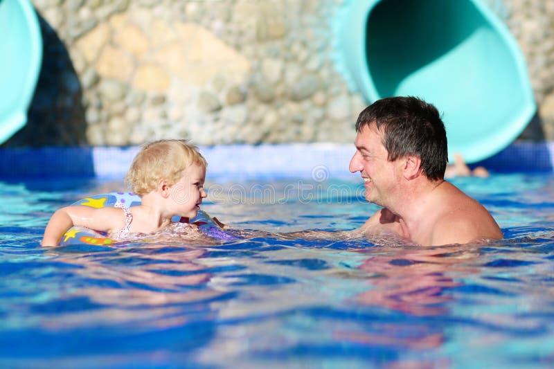 Πατέρας και κόρη που απολαμβάνουν την πισίνα στοκ φωτογραφία