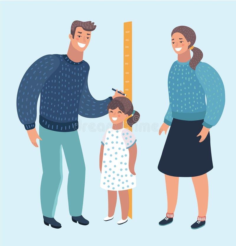 Πατέρας και μητέρα που μετρούν το ύψος παιδιών κοριτσιών με τις χρωματισμένες βαθμολογήσεις στο βέλος τοίχων ελεύθερη απεικόνιση δικαιώματος