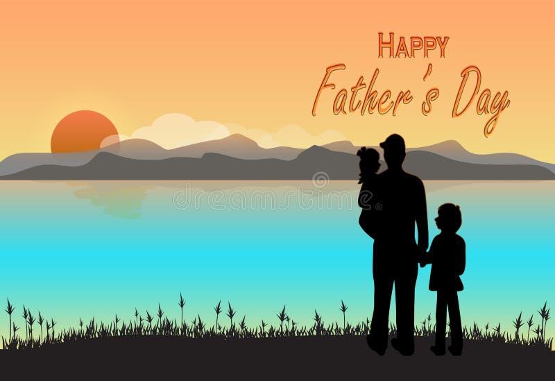 Πατέρας και παιδιά με το ευτυχές κείμενο ημέρας πατέρων ` s στο ηλιοβασίλεμα ή το SU ελεύθερη απεικόνιση δικαιώματος