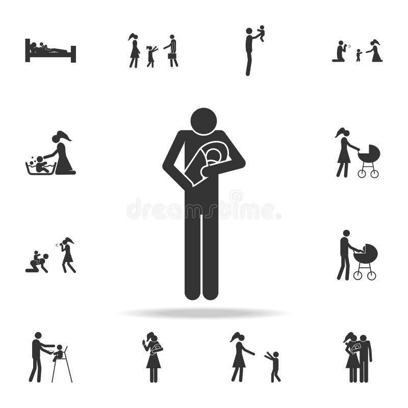 πατέρας με ένα εικονίδιο μωρών Λεπτομερές σύνολο οικογενειακών εικονιδίων Γραφικό σχέδιο ασφαλίστρου Ένα από τα εικονίδια συλλογή ελεύθερη απεικόνιση δικαιώματος