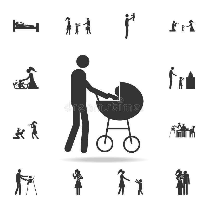 πατέρας με ένα εικονίδιο περιπατητών Λεπτομερές σύνολο οικογενειακών εικονιδίων Γραφικό σχέδιο ασφαλίστρου Ένα από τα εικονίδια σ διανυσματική απεικόνιση