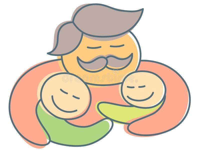 Πατέρας με τα παιδιά αγκαλιάσματος mustache στην ημέρα του πατέρα - ασυνήθιστη απεικόνιση ύφους ελεύθερη απεικόνιση δικαιώματος