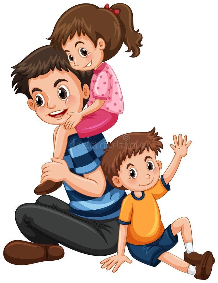Πατέρας με την κόρη και το γιο διανυσματική απεικόνιση