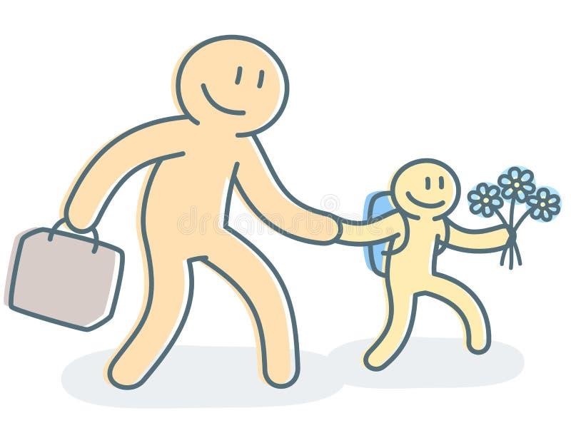 Πατέρας με τη μετάβαση γιων στη σχολική διανυσματική απεικόνιση απεικόνιση αποθεμάτων