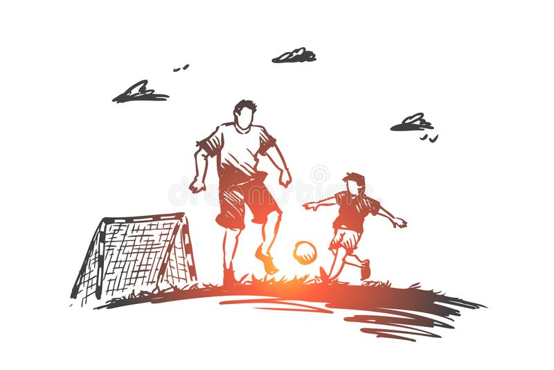 Πατέρας, ποδόσφαιρο, γιος, παιχνίδι, έννοια γονέων Συρμένο χέρι απομονωμένο διάνυσμα διανυσματική απεικόνιση