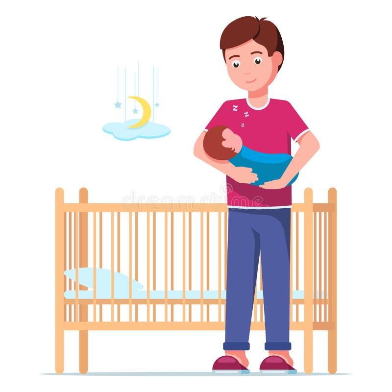 Πατέρας που βάζει έναν ύπνο νεογέννητο σε μια κούνια απεικόνιση αποθεμάτων
