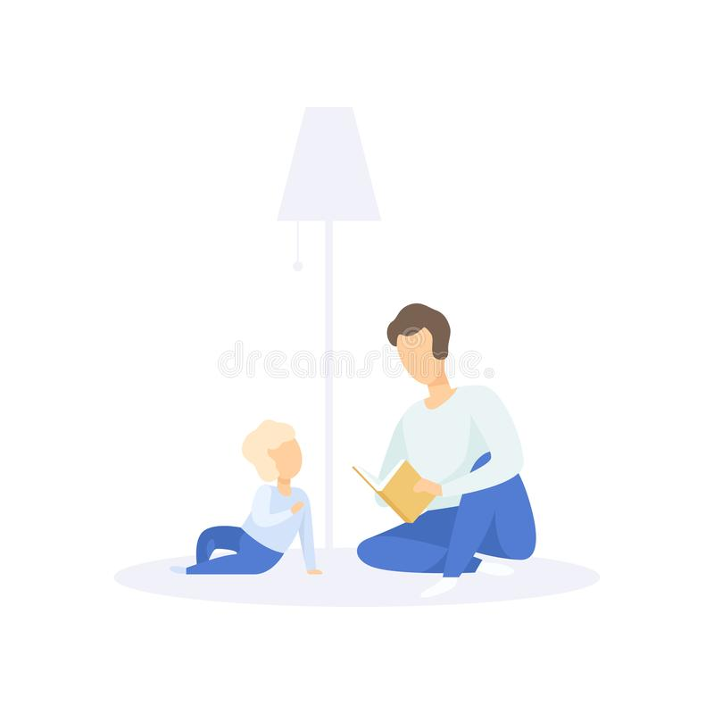 Πατέρας που διαβάζει ένα βιβλίο στο μικρό παιδί του, διανυσματική απεικόνιση έννοιας οικογενειακού τρόπου ζωής σε ένα άσπρο υπόβα απεικόνιση αποθεμάτων