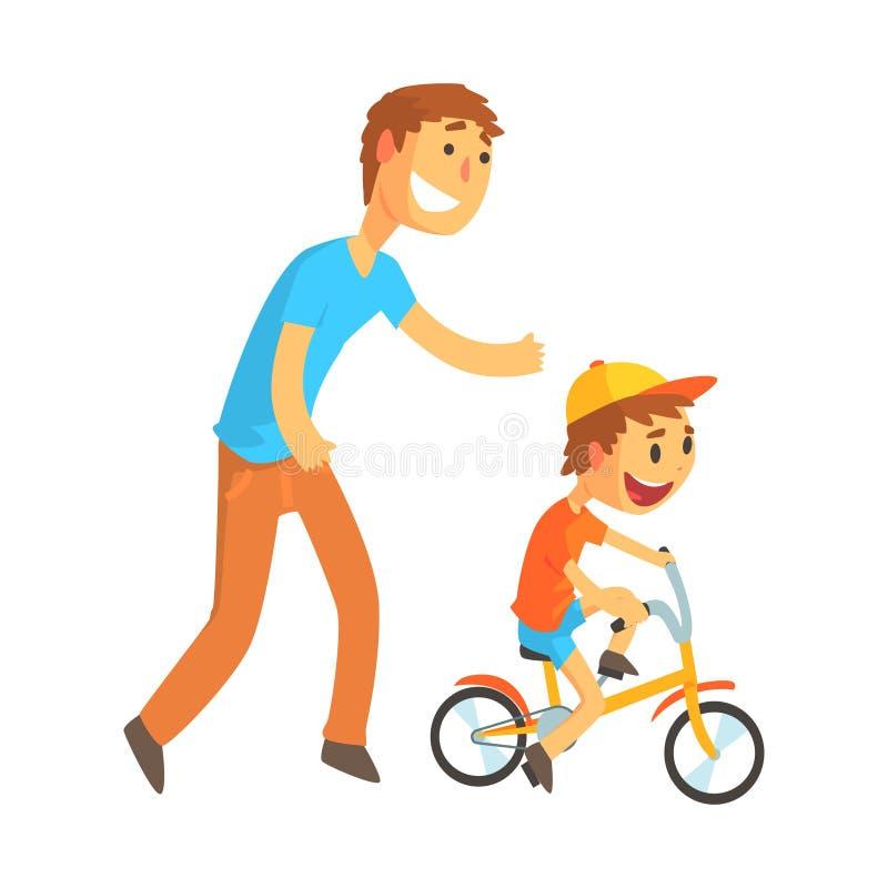 Πατέρας που διδάσκει το γιο του για να οδηγήσει ένα ποδήλατο απεικόνιση αποθεμάτων