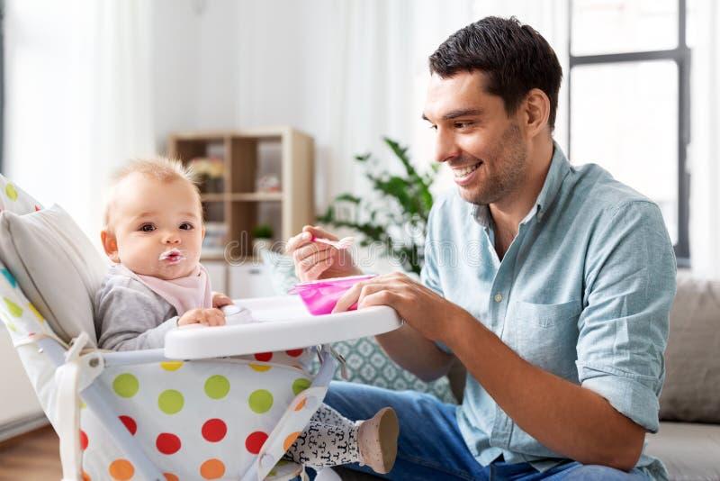 Πατέρας που ταΐζει το ευτυχές μωρό στο highchair στο σπίτι στοκ εικόνα με δικαίωμα ελεύθερης χρήσης