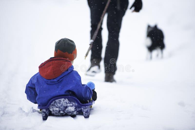 Πατέρας που τραβά το βαρίδι χιονιού Familie με ένα σκυλί στοκ εικόνες με δικαίωμα ελεύθερης χρήσης